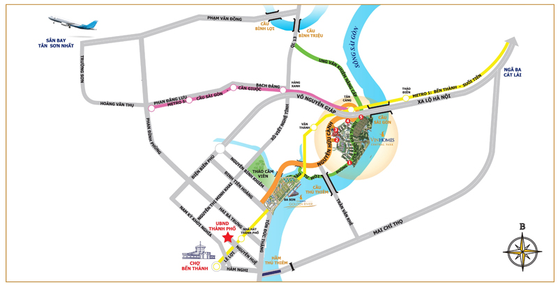 vị trí Cho thuê căn hộ Vinhomes Golden River
