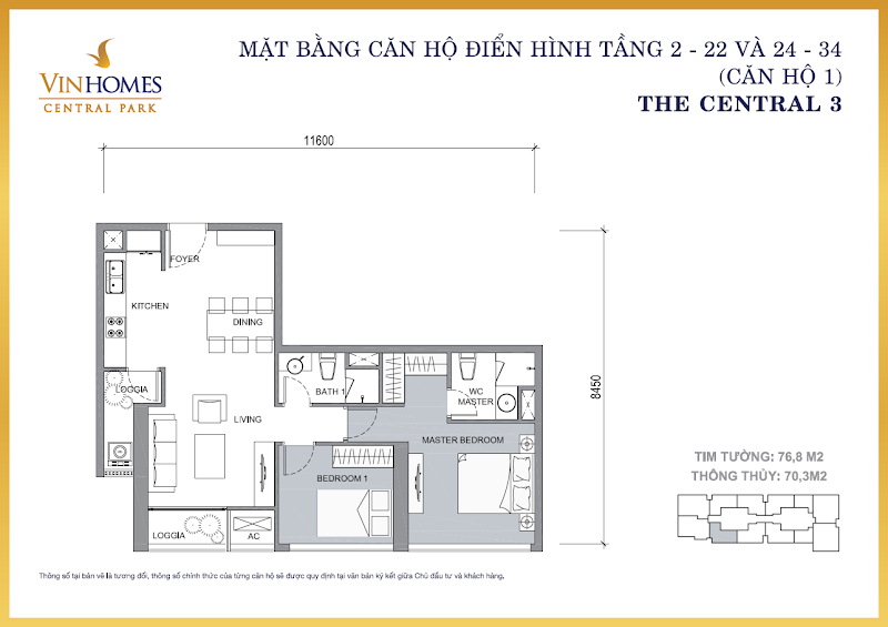 1 PHÒNG NGỦ VINHOMES CENTRAL PARK