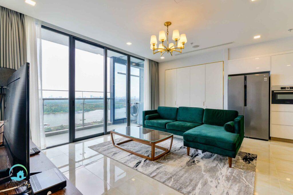 Cho Thuê Căn Hộ Chung Cư 3 Phòng Ngủ Vinhomes Central Park View Sông 120 m2 $1100