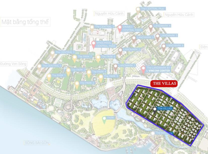 Mặt Bẳng Biệt Thự Vinhomes Tân Cảng - Villa Central Park